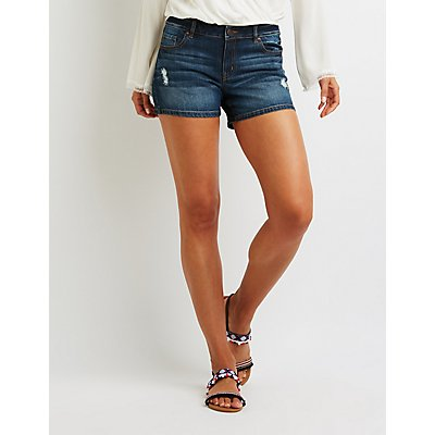 Refuge Mid Rise Destroyed Girlfriend Shorts