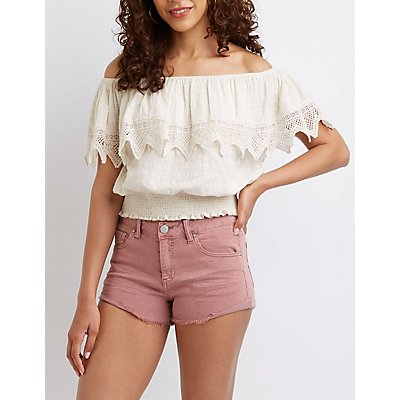 Refuge Cut Off Shortie Shorts by Charlotte Russe