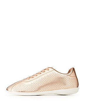 Qupid Perforated Lace-Up Sneakers