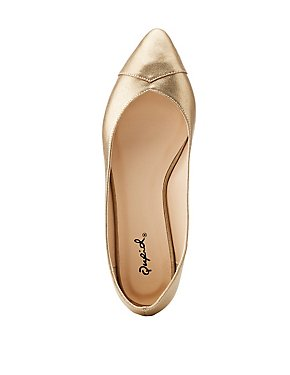Qupid Metallic Pointed Toe Flats