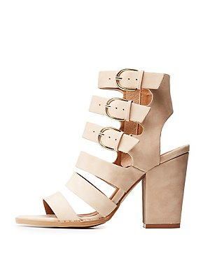 Ladder Strap Block Heel Sandals