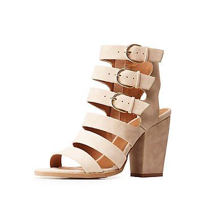 Ladder Strap Block Heel Sandals