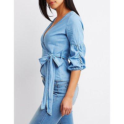 Bubble Sleeve Wrap-Tie Crop Top