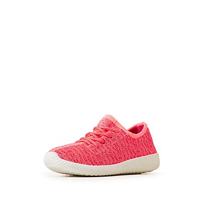 Qupid Marled Knit Lace-Up Sneakers