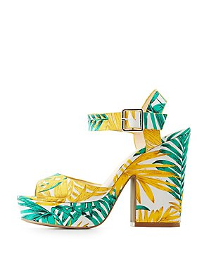 Tropical Ankle Strap Sandals