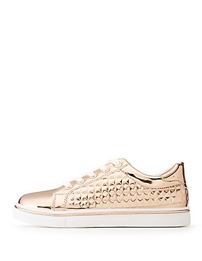 Metallic Pyramid Lace-Up Sneakers