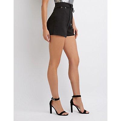 High-Waist Belted Shorts