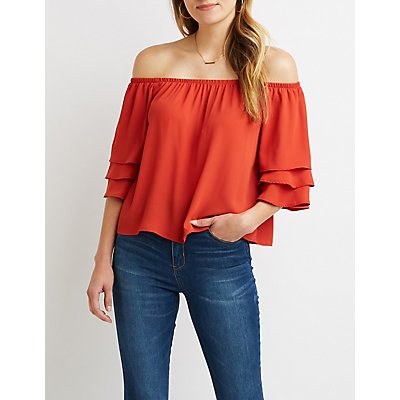 Off-The-Shoulder Ruffle-Tiered Sleeve Top