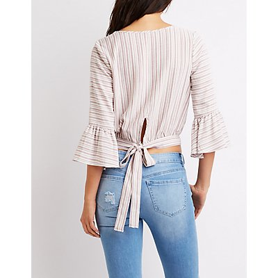 Striped Tie-Back Top