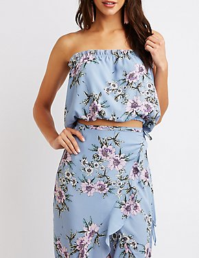 Floral Ruffle Crop Top
