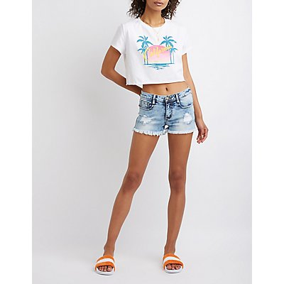 Machine Jeans Destroyed Shorts