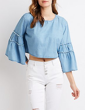 Chambray Fringe-Trimmed Bell Sleeve Top