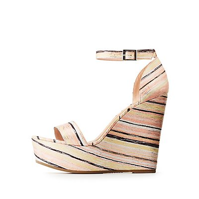 Bamboo Striped Platform Wedges Sandals