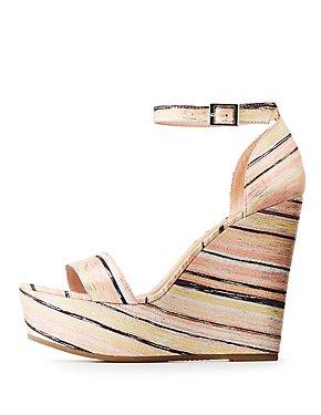 Bamboo Striped Platform Wedges Sandals