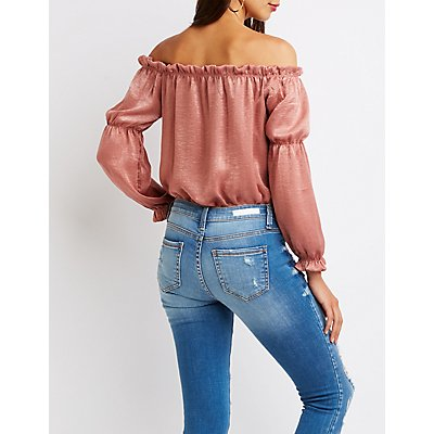Satin Off The Shoulder Bodysuit
