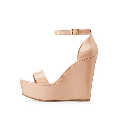 Bamboo Patent Wedge Sandals