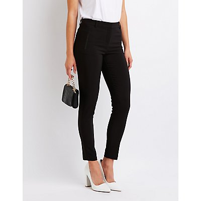 Faux Leather Trim Skinny Trousers