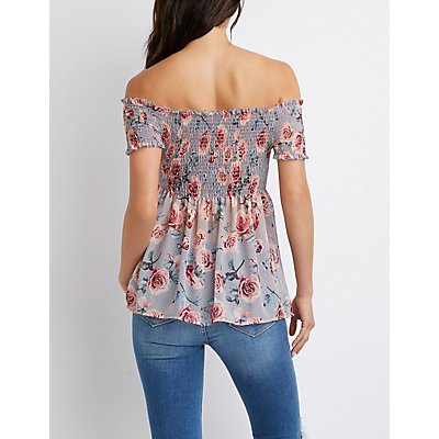 Floral Smocked Off-The-Shoulder Babydoll Top