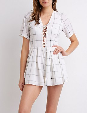 Plaid Lace-Up Romper