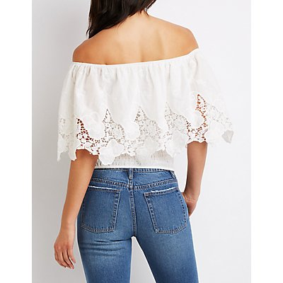 Crochet-Trimmed Off-The-Shoulders Top