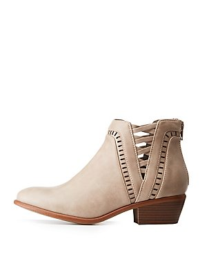 Laser Cut Caged Ankle Booties