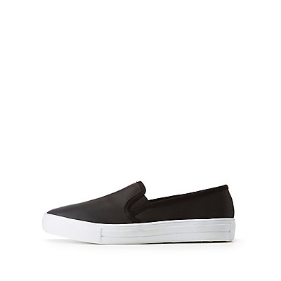 Qupid Satin Slip-On Sneakers