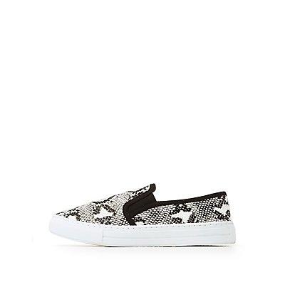 Faux Snake Skin Slip-On Sneakers