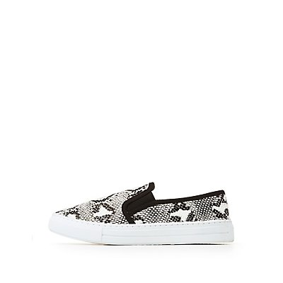 Faux Snake Skin Slip-On Sneakers