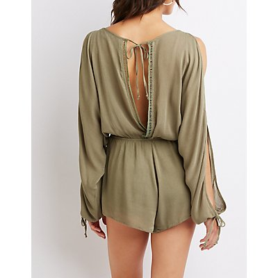 Crochet-Trim Split Sleeve Romper