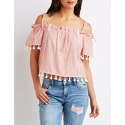 Pom Pom Striped Cold Shoulder Top