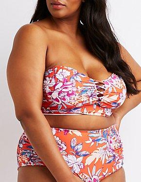 Plus Size Floral Caged Longline Bikini Top