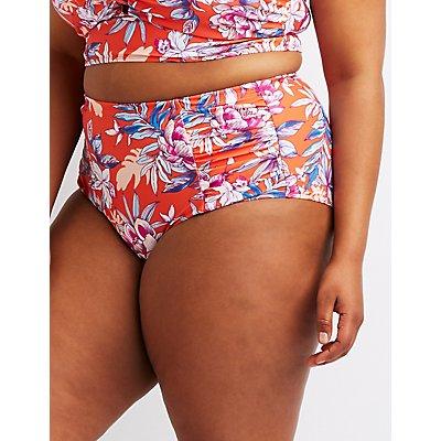 Plus Size Floral Ruched Hi-Waist Bikini Bottoms