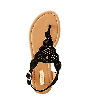 Qupid Laser Cut T-Strap Sandals