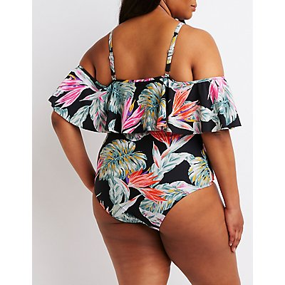 Plus Size Floral Cold Shoulder Swimsuit