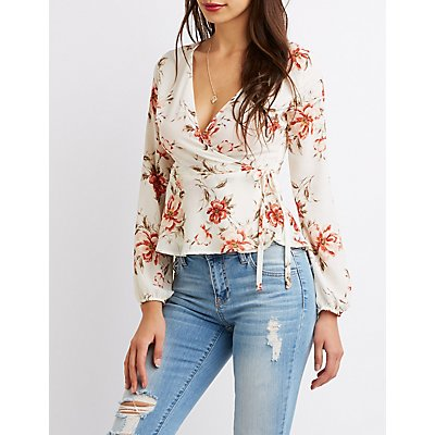 Printed Ruffle-Trim Wrap Top