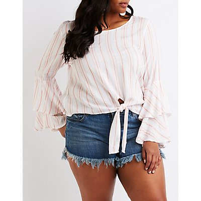 Plus Size Striped Tie Front Top