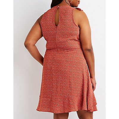 Plus Size Polka Dot Wrap Dress