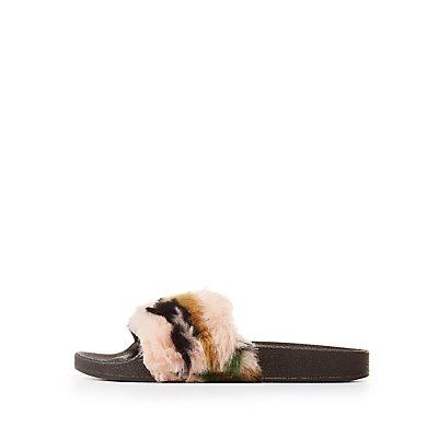 Qupid Fur Slide Sandals