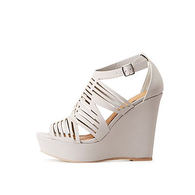 Laser Cut Wedge Sandals