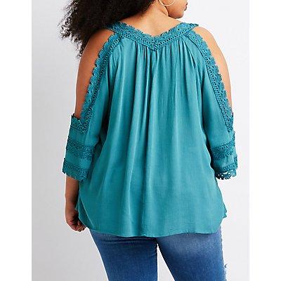 Plus Size Crochet Cold Shoulder Top