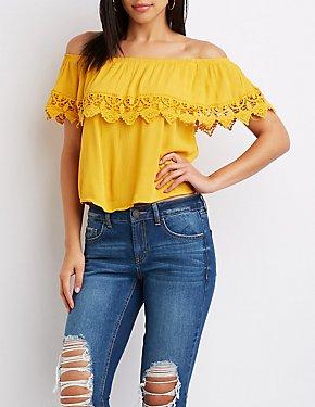 Crochet-Trim Off-The-Shoulder Top