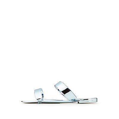 Qupid Metallic Slide Sandals
