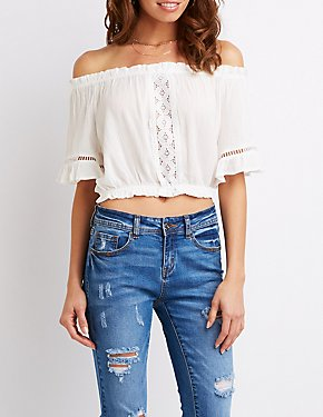 Crochet Detailed Off-The-Shoulder Top