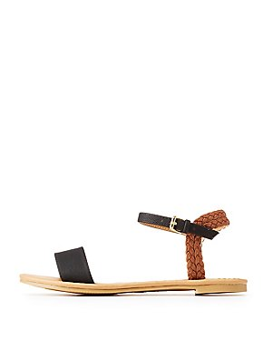 Qupid Braided Flat Sandals