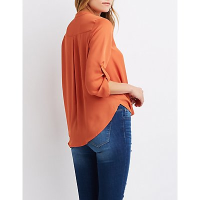 Faux Wrap Button-Up Top