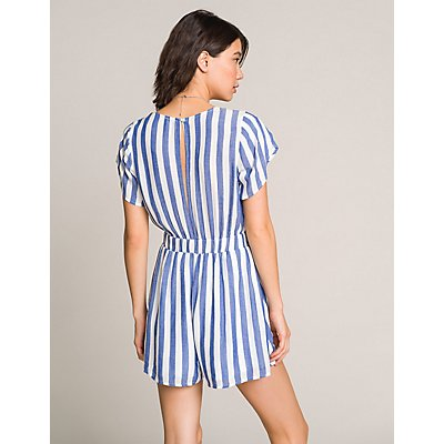 Striped Tie-Front Romper