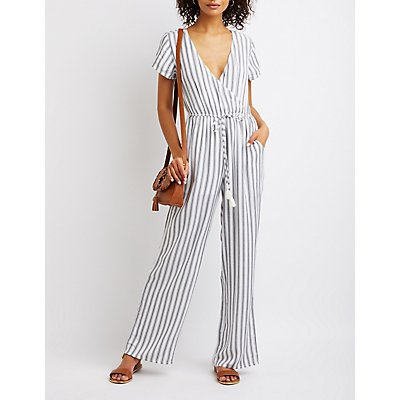 Striped Wrap Tie Jumpsuit