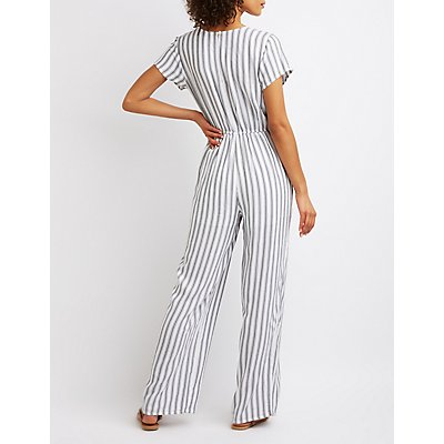 Striped Wrap Tie Jumpsuit