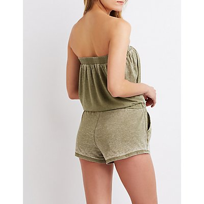 Off-The-Shoulder Drawstring Romper