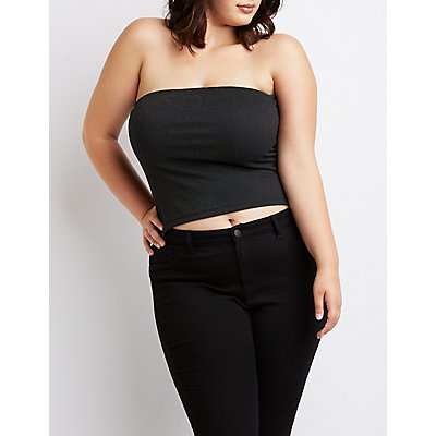 Plus Size Shimmer Strapless Top